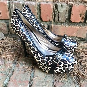 [Qupid] Cheetah Animal Print Buckle Platform Heels